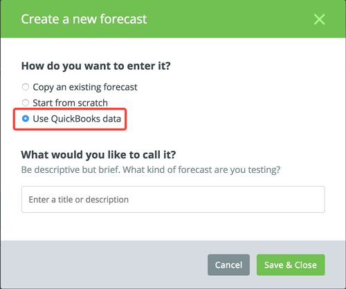 create new forecast in LivePlan