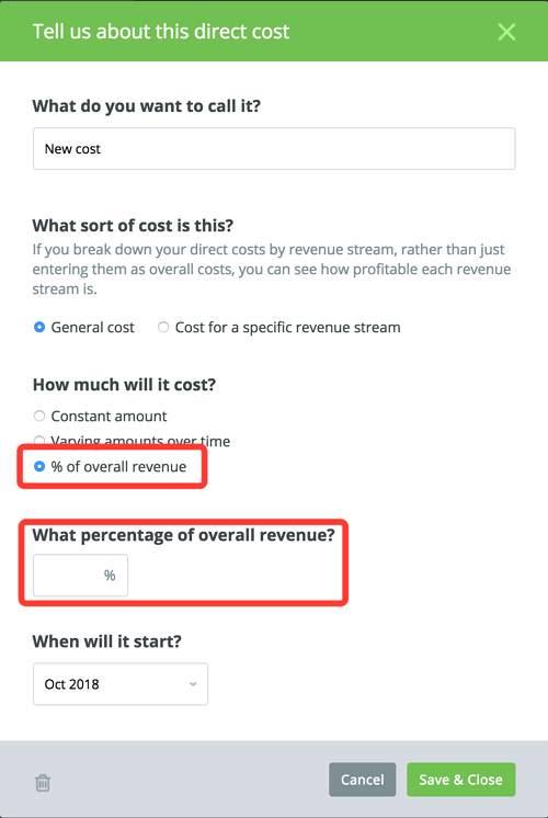 direct cost detail in LivePlan